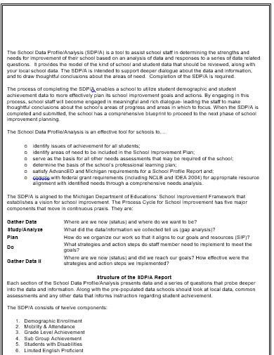 school data analysis template in doc