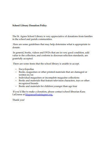school library donation policy template