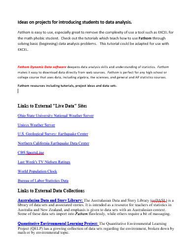 school project data analysis template