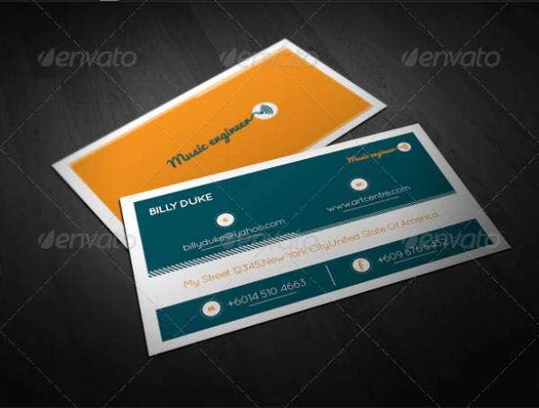 music engineer business card