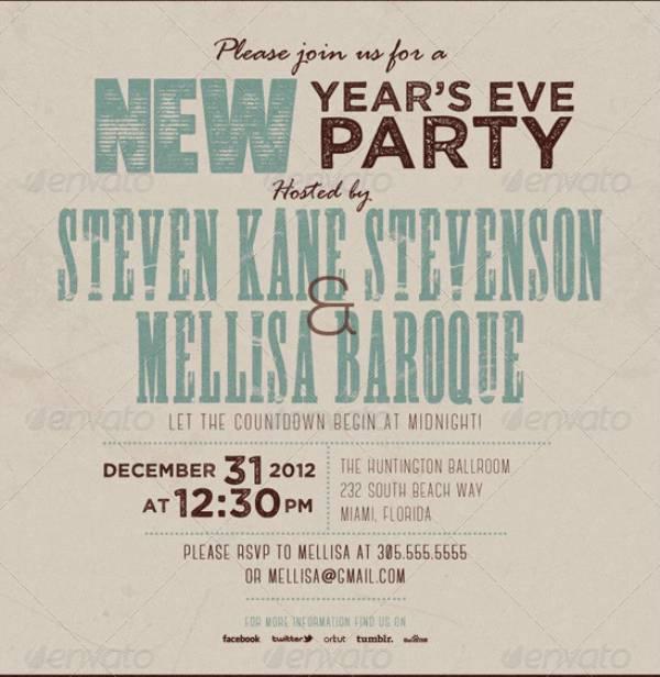 Retro New Year Party Invite Card