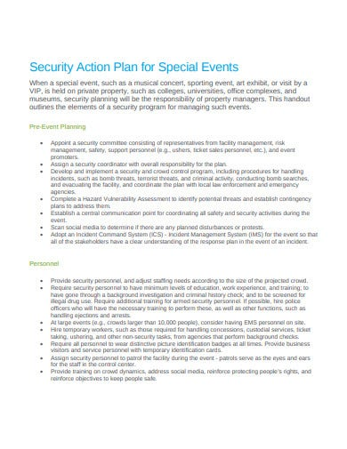 security action plan for special events