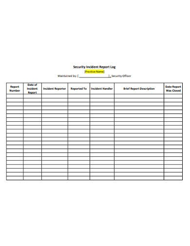 free 10  incident report log templates in pdf