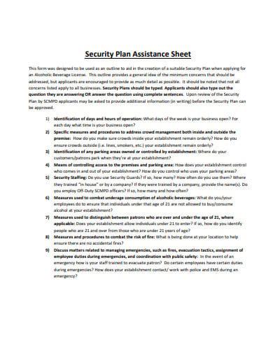 security plan assistance sheet