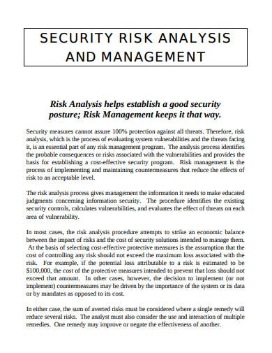 security risk analysis management