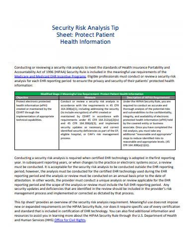 security risk analysis tip sheet