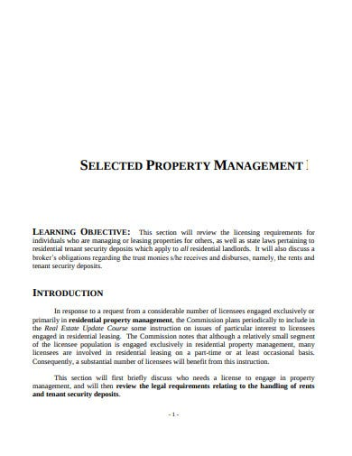 selected property management checklist