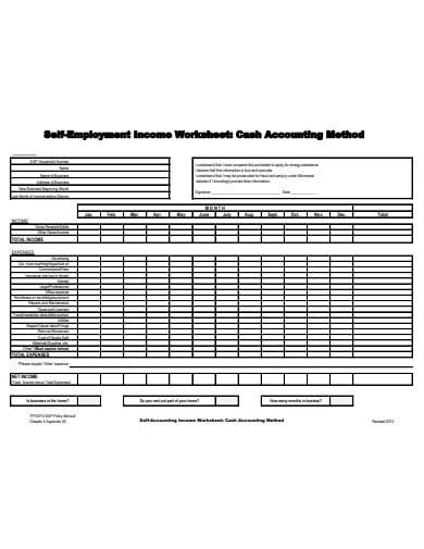 self employment accounting worksheet