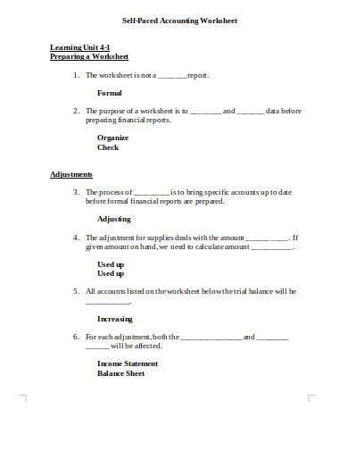 self paced accounting worksheet