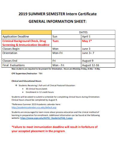 semester intern information sheet