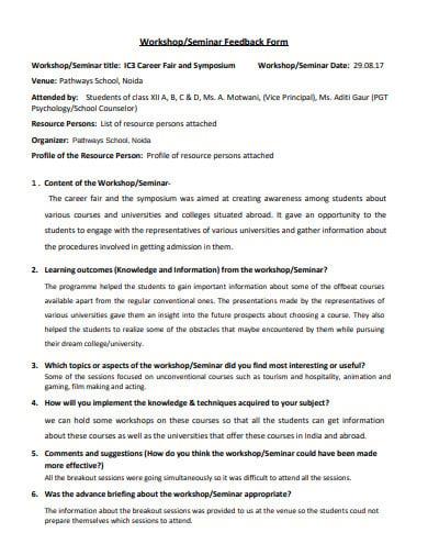 seminar workshop feedback form example
