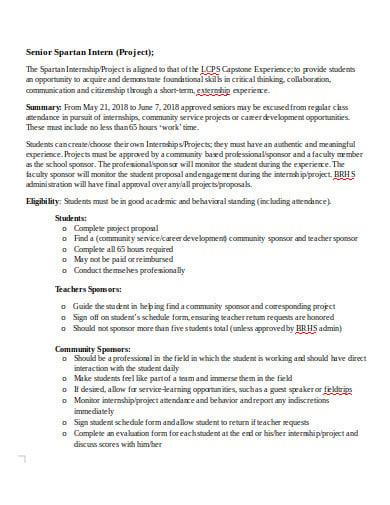 senior internship project proposal