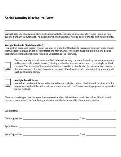 serial annuity disclosure form template