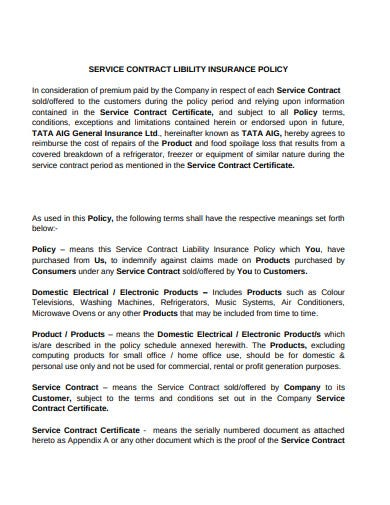 service contract liability insurance policy template