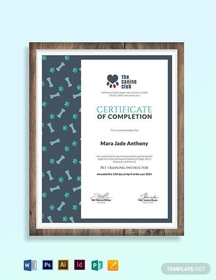 service training certificate template 1