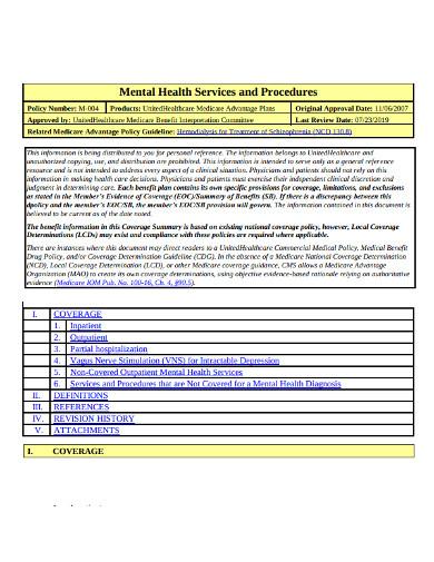 services procedures health treatment plan
