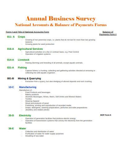 simple annual business survey template