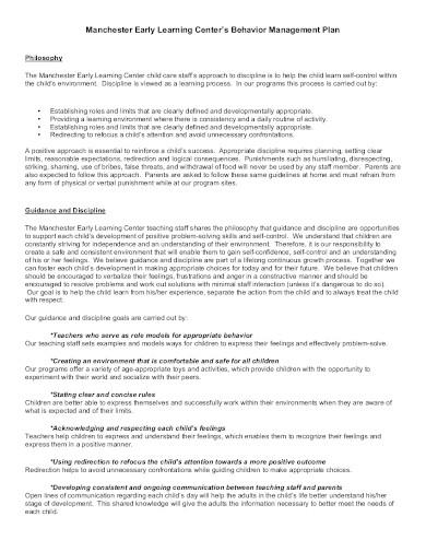 simple behavior management plan in pdf