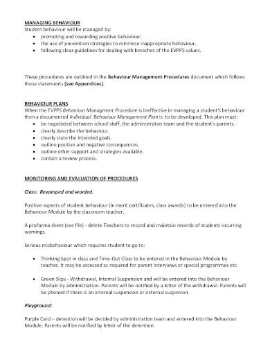 simple behaviour management plan template