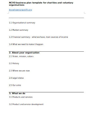 simple charity business plan template