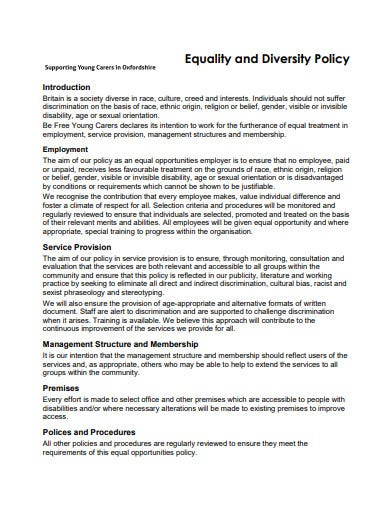 simple charity diversity equality policy
