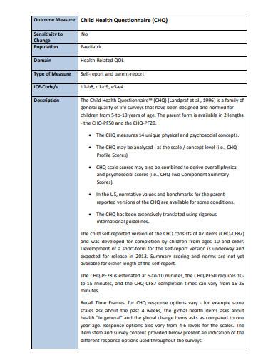 simple child health questionnaire
