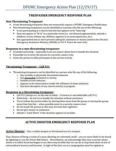 simple church emergency action plan