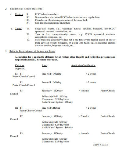 simple church facilities rental agreement template