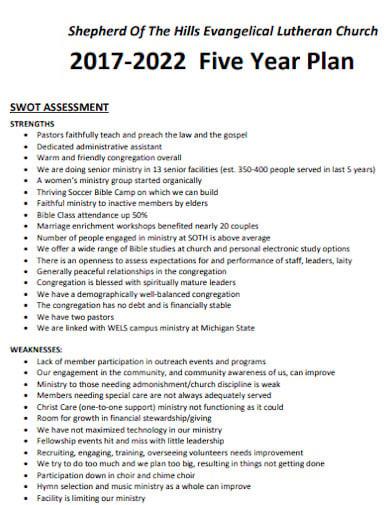 simple church five year plan