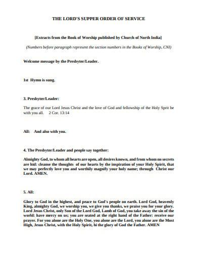 simple church service order