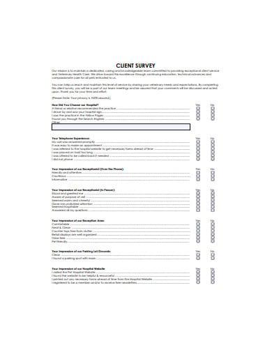 simple client survey form template