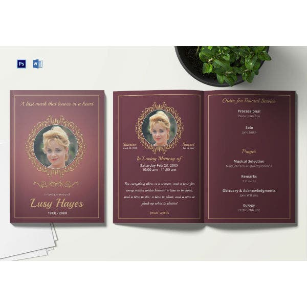 simple cremation funeral service brochure template