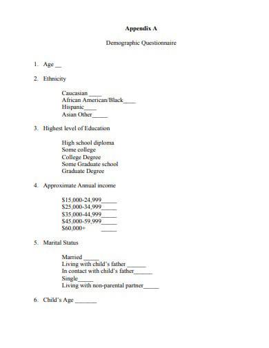 simple demographic questionnaire template