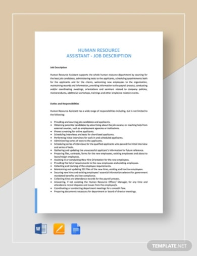 simple hr job description template