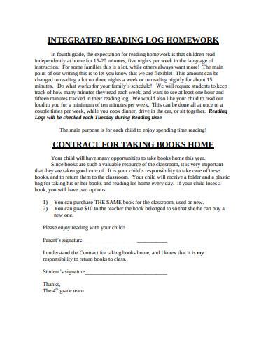 simple homework reading log example