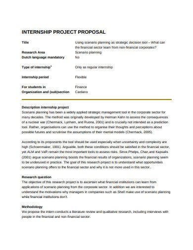 simple internship project proposal
