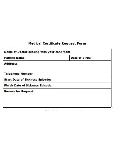 simple medical certificate request form template
