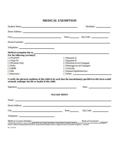 simple medical exemption certificate
