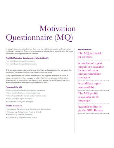 simple motivation questionnaire