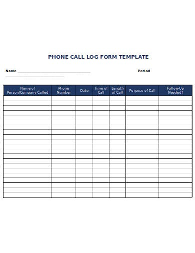 simple phone call log form template