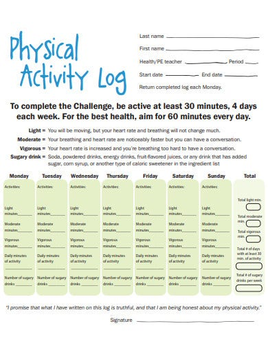 simple physical activity log template