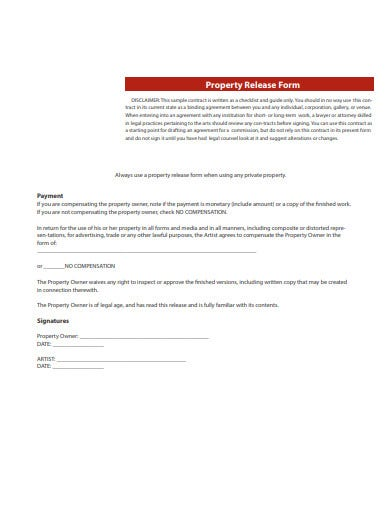 simple property release form template