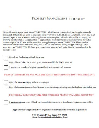 simple property management checklist