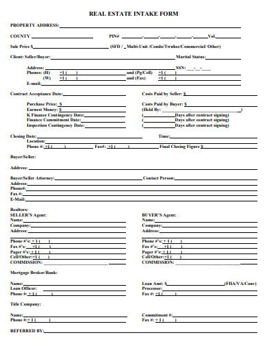 8  real estate intake form templates in pdf