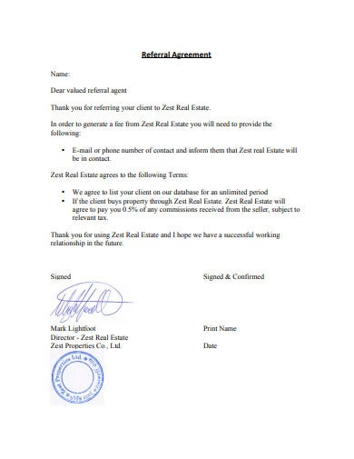 simple real estate referral agreement template