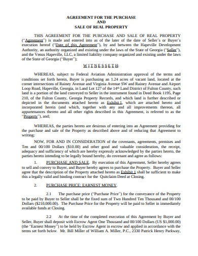 simple real property sale agreement