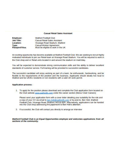 simple retail assistant cover letter