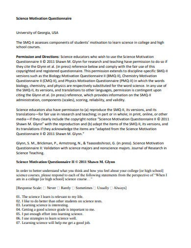 simple science motivation questionnaire