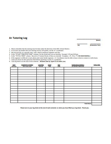 simple tutoring log sheet template