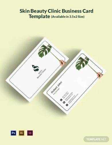 skin beauty clinic business card template